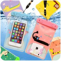 Wholesale Blackberry View - For iphone 6 Universal Cartoon Clear View Waterproof Case Cover Bag Water Proof Diving Underwater Pouch For i6 6plus Samsung S6 Edge