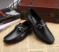 Wholesale Italian Wedding Dress Designers - men genuine leather shoes luxury handmade loafers slip on italian brand designer male dress shoes big size 45