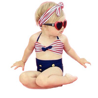 Wholesale Sailor Bikini Bathing Suit - PrettyBaby 2016 stripe bikini girl Sailor swimsuits high waisted bathing suit for kids baby children swimsuit 3pcs set with bow headband