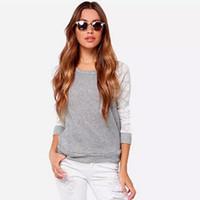 kore uzun boyunlu rahat gömlekler toptan satış-Uzun Kollu ile Seksi Dantel Kore Dantel T-Shirt O-Boyun Gri Tığ Backless Artı Boyutu Kadın Giyim Üst t gömlek Casual Gömlek B128