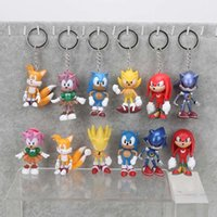 Wholesale Sonic Keyring - 5sets sonic the hedgehog 3inches 7cm SEGA Figures toy pvc toy sonic Characters figure toy keyring pendant keychains