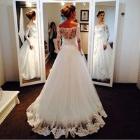 Wholesale Modest Wedding Dresses China - Wholesale 2015 Latest Modest Wedding Dresses With Long Sleeves A Line Plus Size Lace Tulle Bridal Party Gowns Cheap Custom Made China bridal