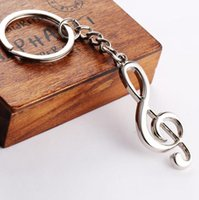 Wholesale Musical Treble Clef - Promotion Treble Clef Musical Note Metal Keyring Novelty Music Notation note Key Chains Silver Bag Clip GIft