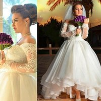 Wholesale Off Shoulder Short Wedding Dresses - Modest Short Lace A Line Wedding Dresses Off Shoulder Long Sleeves Beading Arabic Dubai 2016 Spring High Low Plus Size Bride Wedding Gown