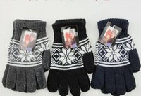 Wholesale Delicate Fingerless Gloves - Wholesale-1 pair Autumn winter Christmas men women thickness warm cashmere gloves Delicate snowflake fashion Gloves Mittens 3 colors