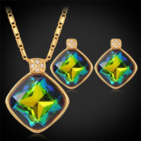 Wholesale Necklace Real Stone - U7 Fancy Colorful Stone Necklaces Women Gift New 18K Real Gold Plated Fashion Jewelry Casual Crystal Pendant Necklaces
