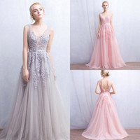 Wholesale Open Back Lace Prom Dresses - Vintage 2018 Lace Tulle Prom Dresses A Line V Neck with Appliques Open Back Evening Gowns Bridal Reception Dress Cheap CPS304