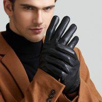 Wholesale Men S Fingerless Leather Gloves - Men's real leather gloves touch screen sheepskin gloves brands mesh good quality driving five finger gloves mittens