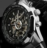 Wholesale Men Military Mechanical Watches - Winner brand Luxury Sport men's Automatic Skeleton Mechanical Military Watch Men Silver full Steel Band