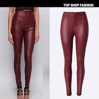Wholesale Sexy Leather Skinny Jeans - 2016 Hot Sale High-waisted Red PU imitation leather Skinny Women Jeans High stretch Euramerican style Sexy Jeans Women Large Size