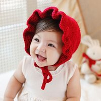 New Baby Hat with Ears Girls Cute Cappelli per bambini Kids Caps Christmas Baby Girl Winter Hat cappello caldo bambino Berretti Red A7916