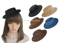 faça fascinador venda por atacado-Atacado-A224 10pcs Mini Top chapéus de palha Craft Making Fascinator suprimentos Millinery