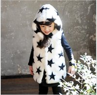 Wholesale Wholesale Faux Fur Long Vest - 2015 New Hot Sale Girls Faux Fur Long Vest Winter Autumn Warm Waistcoats Stars Hearts Printed Hooded Coats Outwear Kids Clothing Girl Vests