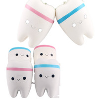 Wholesale Novelty Lanyards Wholesale - Wholesale 10.5cm Novelty Jumbo Squishy Tooth Slow Rising Kawaii Soft Squishies Squeeze Cute Cell Phone Strap Toys Kids Baby Gift