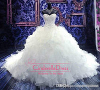 Wholesale embroidery white dress for sale - 2019 Cheap Luxury Beaded Embroidery Wedding Dresses Princess Gown Sweetheart Corset Organza Cathedral Church Ball Gown Wedding Dresses