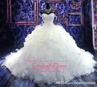 korse prenses bilardo giysileri toptan satış-2019 Ucuz Lüks Boncuklu Nakış Gelinlik Prenses Elbisesi Sevgiliye Korse Organze Katedrali / Kilise Balo Gelinlik