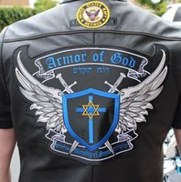 Wholesale Motorcycle Back Armor - COOLEST ARMOR OF GOD MOTORCYCLE COOL LARGE BACK PATCH ROCKER CLUB VEST OUTLAW BIKER MC PATCH FREE SHIPPING