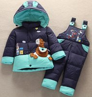 Wholesale Down Coat Overall Girl - Hot Sell 2015 Winter Baby Boys Clother Suits Children thick Jacket Parka Set Girls Overalls Pants Kids Warm Coat+pants Suit Sets