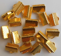 Wholesale End Caps Tibetan - MIC IN STOCK 800PCs lot Available Tibetan Silver Gold Clasp Over Clip Tips Cord Crimp Ends Beads Cap Finding Fit Necklace 16mm
