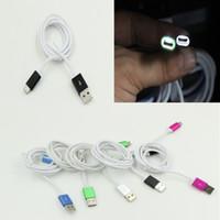 leichter strickstoff großhandel-USB-umsponnenes Aufladeeinheits-Kabel LED-Licht-Metallkopf stricken Gewebe gesponnene Daten-Synchronisierungs-Aufladeeinheits-Kabel-Schnur für Samsung 2A Gebühr 100pcs / lot geben DHL frei