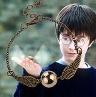 Wholesale Harry Potter Snitch Bracelet - Bracelets Bangles Chain Link Bracelets Harry Potter Quidditch Golden Silver Snitch Pocket Wings Bracelet Vintage Retro Tone For Men Women