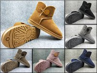 Wholesale Cowboy Boots Knee High Flat - High Quality WGG Mini Bailey II Twinface Kristin Australia Classic Snow Boots Wool Insole Women Winter Boots Fashion Shoe Winter Boots 36-40