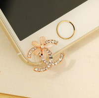 Wholesale Dustproof Plug Mobile Phone - Wholesale-Free shipping New Brand Rhinestone Flowers Phone Plug Anti Dust Plug Dustproof Plug For iPhone 6 Plus 5 Mobile Phone Accessories