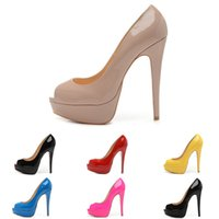 Wholesale Yellow Bridal Peep Toe Heels - Lady Peep Open Red Toe Pumps 14CM Platform Shoes Women Sexy Bottom High Heels Nude Patent Leather Wedding Shoes Dress Bridal