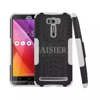Wholesale Dual Blue Laser - Hard PC Silicone Rugged Armor Dual Case For Asus Zenfone 2 Laser ZE601KL ZE600KL 6.0 inch With Stand Tire Duty Cover Capa