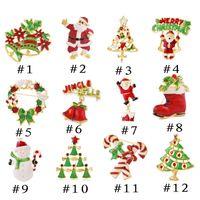 Wholesale Christmas Snowman Crystal Pins - Fashion Jewelry Alloy Rhinestone Christmas Brooch Pin Snowman Santa Claus Boot Garland Xmas Gift Decoration 12 Style