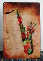 Wholesale antique wall murals - new 2015 Vintage Tin sign Retro Metal Painting Saxophone Picture Signs Wall Pub Tavern Garage Home Decor Art Mural Tin Sheet Metal Sign Vint