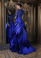 Wholesale Couture Dresses Sleeves - 2017 High Neck Lace and Taffeta Evening Dresses Gorgeous Couture Sweep Train A Line with Long Sleeve Prom Dresses Evening Gowns Two Pieces