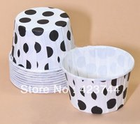 Wholesale Black Greaseproof Cupcake Liners - Cupcake mold White and Black Dots High temperature baking greaseproof paper mini muffin cupcake liners 100pcs lot