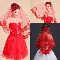 Wholesale Nets Stockings Red - 2016 Wholesale 1.5 Meter Long Red Bridal Veils One Layer Tulle Lace In Stock Wedding Veil Accessories Free shipping CPA399