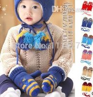 Wholesale Toddler Finger Gloves - Wholesale-Free Shipping 5pairs lot Children's Winter Gloves Knitted Keep Warm Baby Toddler Gloves&Mittens 6colors #0742