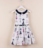 Wholesale Graffiti Colorful - colorful graffiti print dress sleeveless cotton dress girl dress belt children summer girls dresses kid cotton cute dress with belt in stock