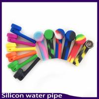 Wholesale Wholesale Acrylic Glasses - Silicone Pipe Mini Water Acrylic Hookah Bong Multi Colors Portable Shisha Hand Pipes VS twisty glass blunt 0266154