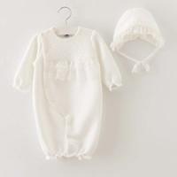 Wholesale Newborn Baby Girl White Dress - Newborn Romper Kid Girl Dress Baby Onesies Children Clothes Kids Clothing 2015 Autumn Winter Jumpsuit Princess Lace Romper Baby Dress C16929