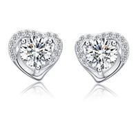 Wholesale Heart Shaped Diamond Earrings Studs - 925 Sterling Silver Stud Earrings Fashion Jewelry Heart Shaped Zircon Diamond Crystal Elegant Style Earring for Women Girls High Quality