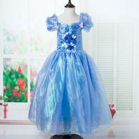 Wholesale Newest Tutu Dress - 2015 Newest Cinderella Kids Dress New Cinderella Movie Cosplay Costume Princess Girl Dress With Butterfly fancy Dress