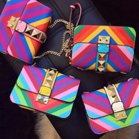 Wholesale Stripe Party Bags - Rainbow shoulder bag fashion women leather Rivet alloy chain lock messenger bags party evening bag handbag tote colorful