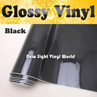 Wholesale Car Gloss - High Gloss Black Vinyl Wrap Car Wrap Air Free Shiny Black Vinyl Ultra Glossy Wrap Film Vehicle Wraps Size:1.52*30m Roll