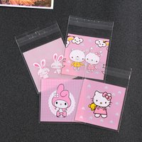 Wholesale Hello Wedding - Wholesale- 100pcs hello kitty Cute cartoon Candy cookie dessert Bags Wedding Birthday Party Craft Self-adhesive OPP Biscuit Packaging Bag