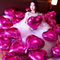 kırmızı helyum balonları toptan satış-7 adet / grup 18 '' inç helyum folyo balonlar kırmızı balon kalp şekli globos düğün odası parti dekor için sevgililer Günü malzemeleri baloes