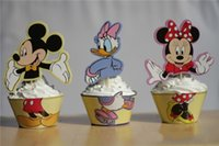 Wholesale Decorated Boxes - Movie Mickey Mouse Minnie Donald Duck Cupcake Wrapper Decorating Boxes Cake Cup With Toppers Picks For Kids Birthday Christmas Decorations
