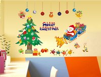 Wholesale Transparent Wall Stickers Children - New Santa Claus PVC wall stickers Children Room Glass or Living Room bedroom transparent removable stickers