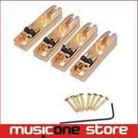 Wholesale Bass Single - Wholesale Bass Bridge 4-Single String Bass Bridge 4pcs Individual Gold Free shipping MU0453