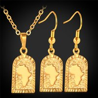 Wholesale map middle - Free Shipping African Map Pendant 18K Gold Plated Choker Necklace Earrings Fashion Jewelry Sets Jewellery Wholesale MGC S677