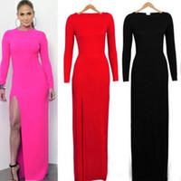Wholesale High Briefs Woman - Brand Dresses Women Clothing Long Sleeve Sheath Split Slim Fashion Female Dresses Plus Size Skinny Clothes Night Club High Quality