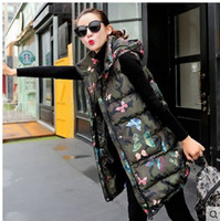 Wholesale Long Hooded Down Vests - Wholesale-Fashion Long Section Womens Winter And Autumn Camouflage Koren Sleeveless Down Jacket Hooded Waistcoat Cotton Vest M 2Xl J457